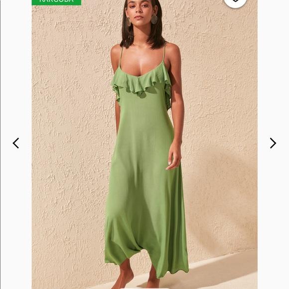 Low Back Maxi Boho Dress in Moss Green